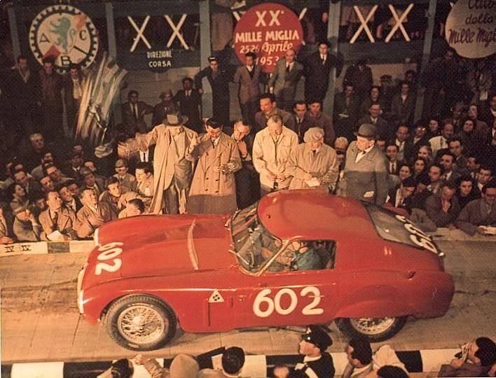Giulia , quella col quadrifoglio . 1953-04-26_Mille_Miglia_Alfa_Romeo_6C_3000_Fangio_Sala_2nd_place