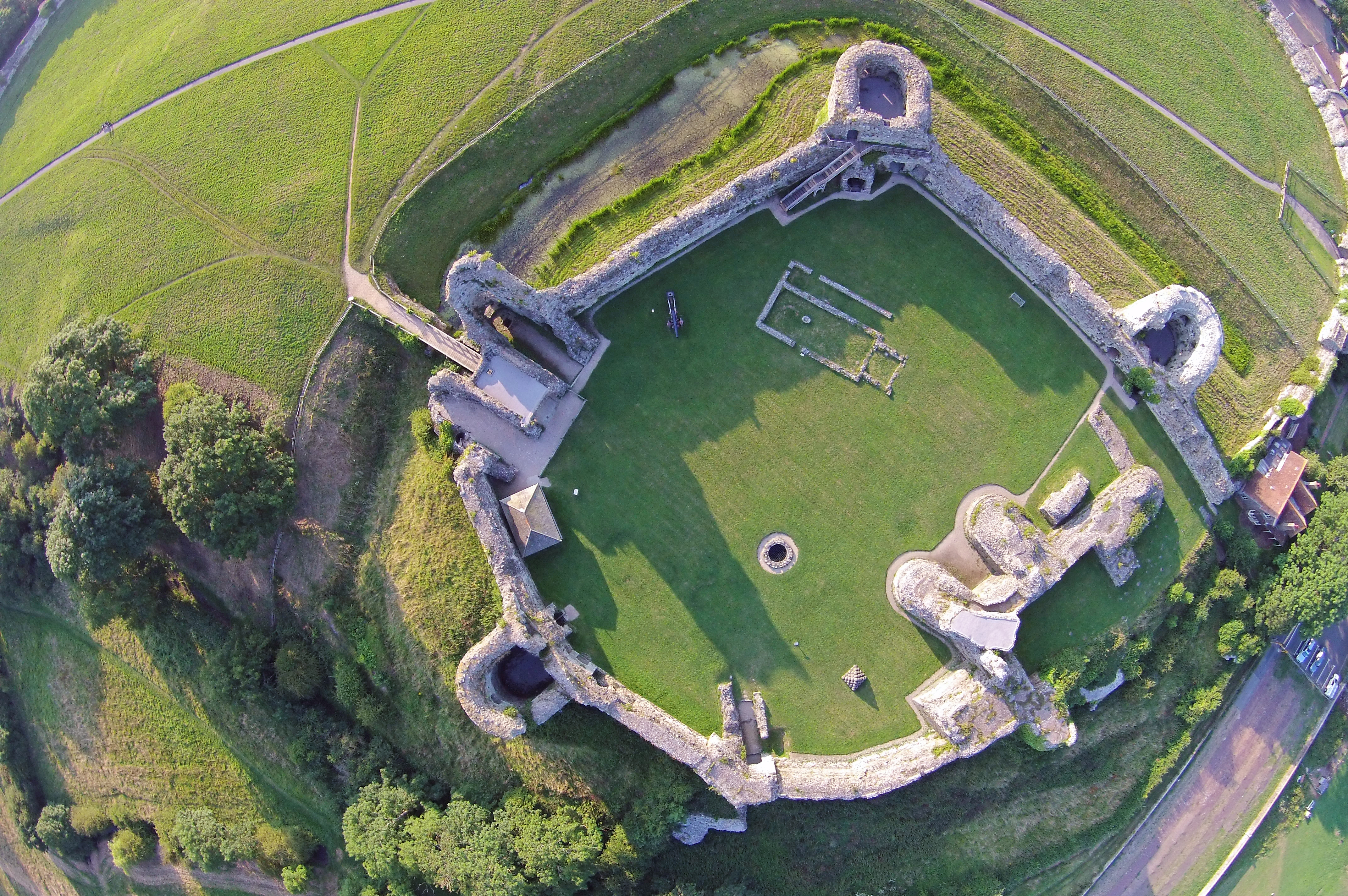 File:Aerial photograph of Pevensey Castle (top view) taken ...