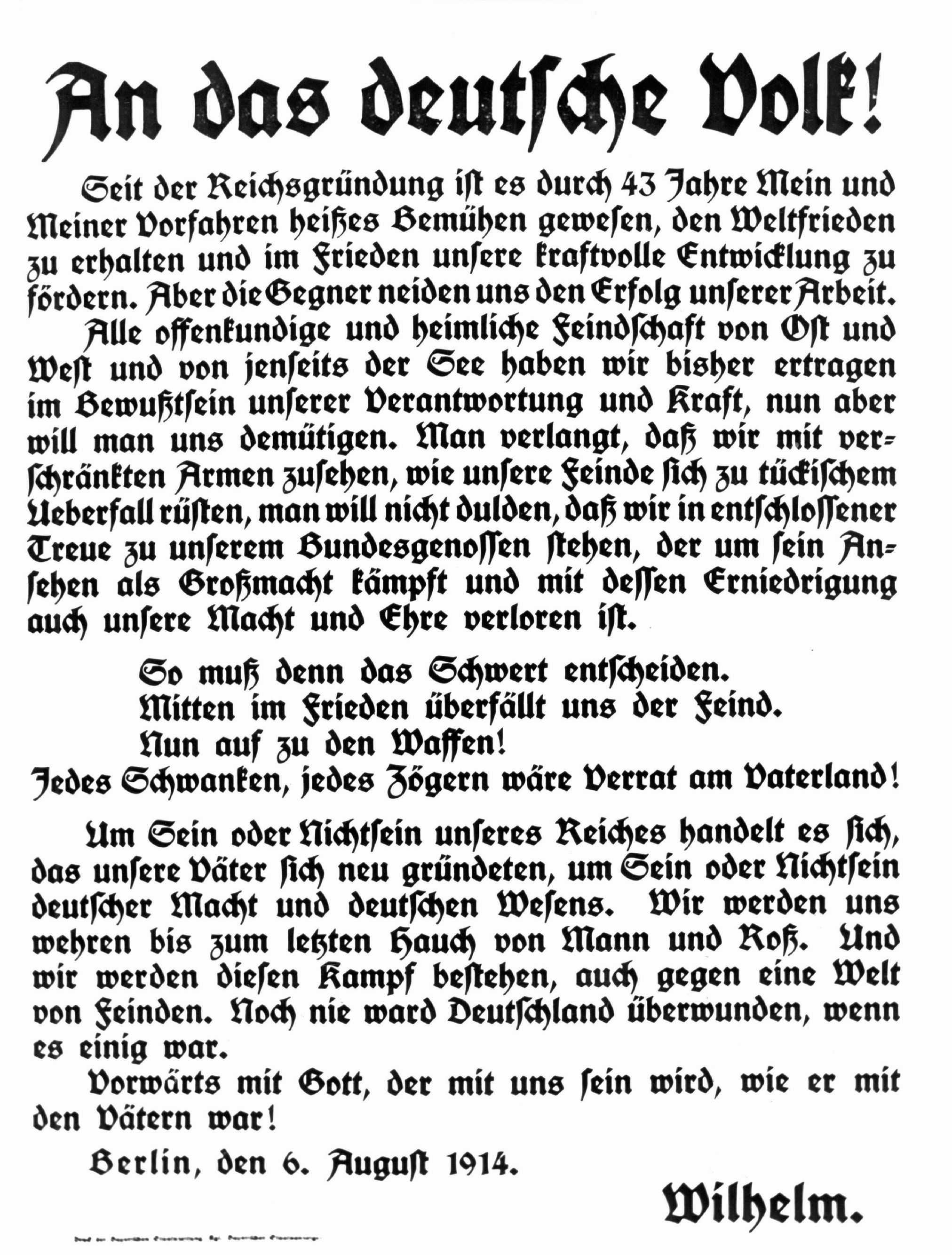 """Aufruf von Kaiser WilhelmII. zur Mobilmachung: """"An das deutsche Volk!"""", Plakat vom 6.August 1914"""