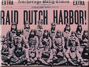 Front page of the June 3, 1942 Anchorage Daily Times featuring the attack Anchorage Daily Times June 3, 1942.JPG
