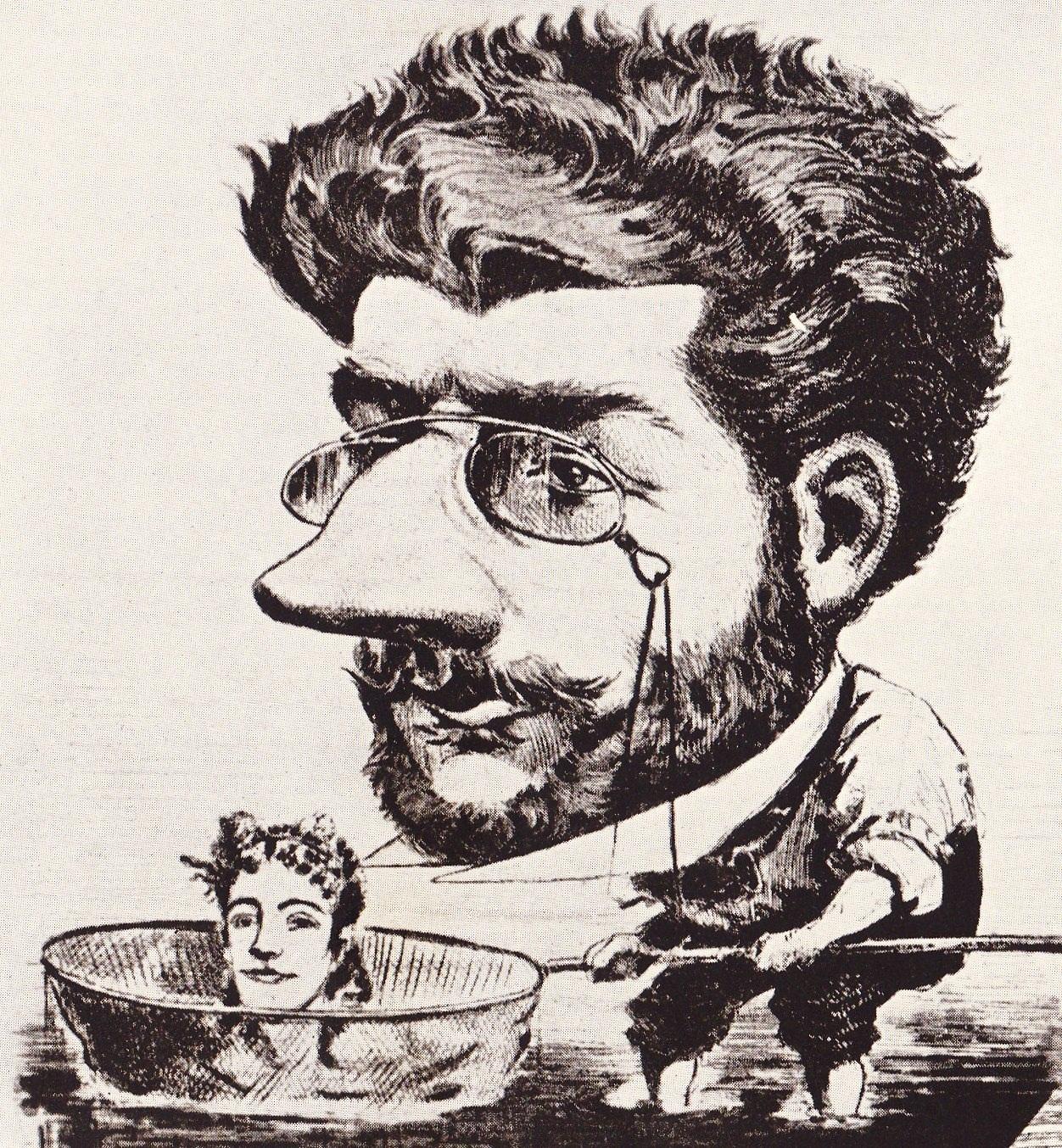 Caricatura de Bizet, 1863, de la publicación francesa <em>Diogène</em>.