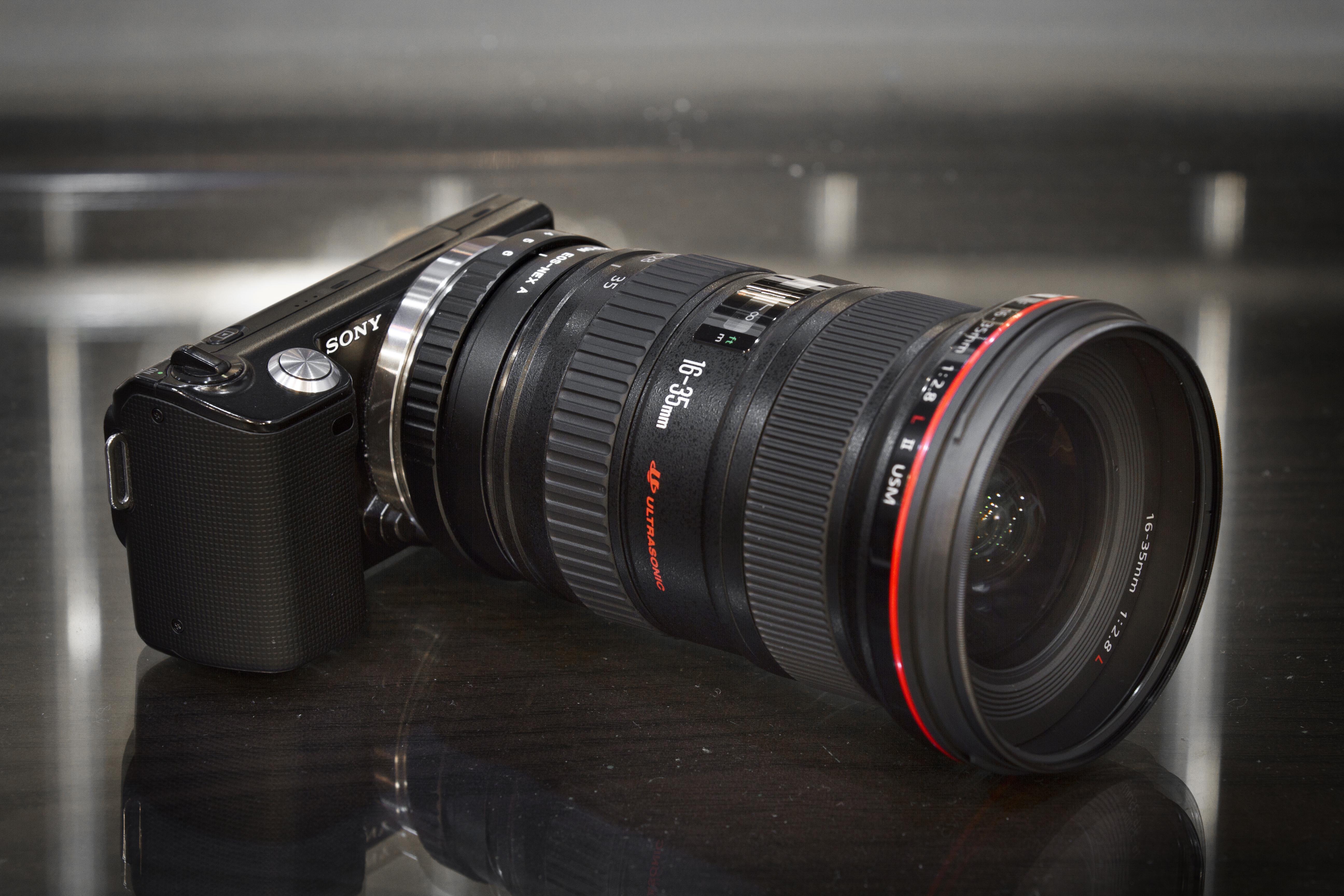 793c93a270 Canon EF 16-35mm f/2.8 L IS lens adapted to the Sony NEX-5 with a