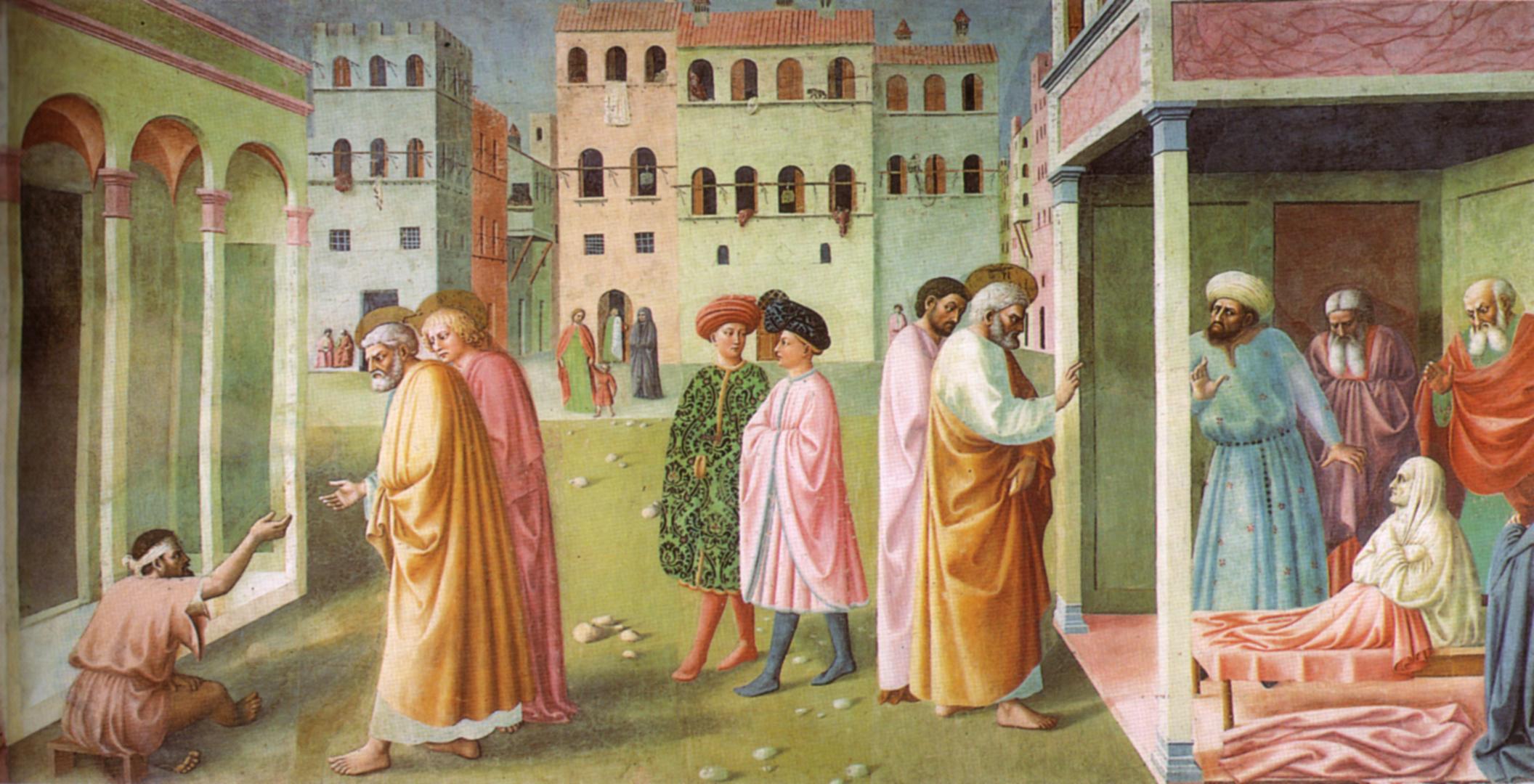 Arte sacra Cappella_brancacci%2C_Guarigione_dello_storpio_e_resurrezione_di_Tabita_%28restaurato%29%2C_Masolino