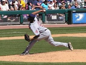 Hernández pitching in his MLB debut