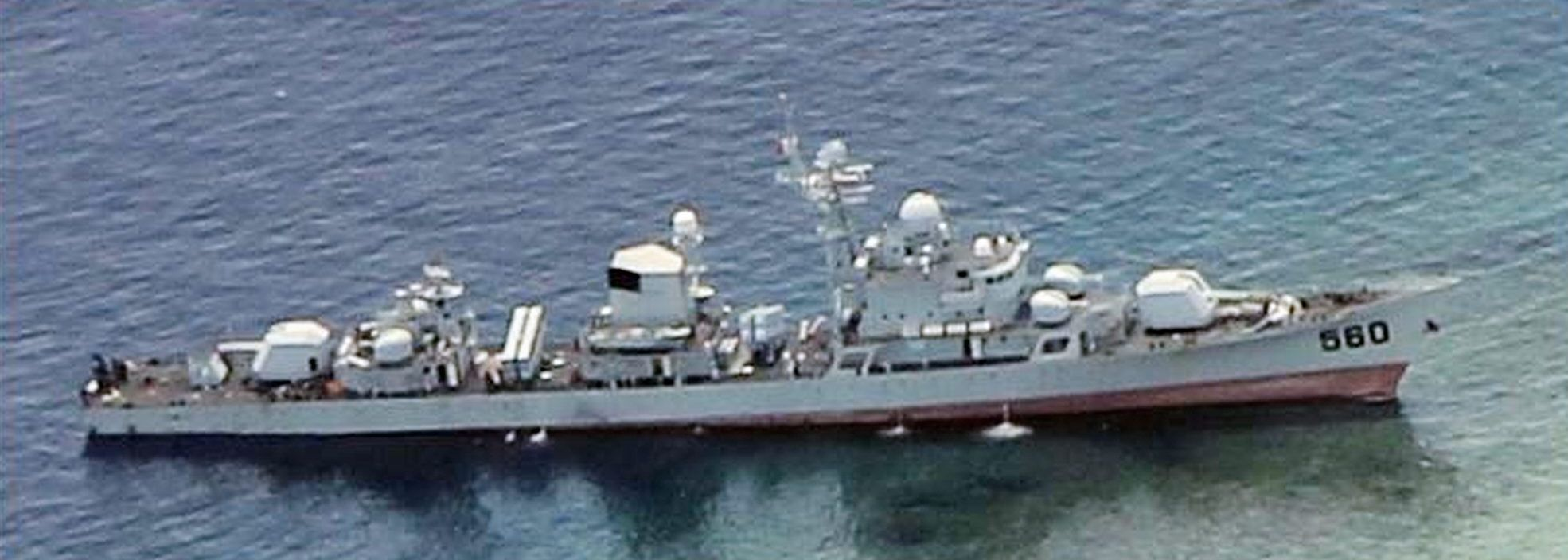 Chinese frigate Dongguan aground on Half Moon Shoal.jpg