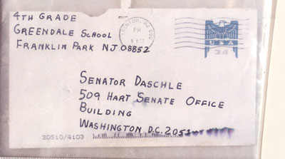 A letter mailed to Senate Majority Lead Tom Daschle containing anthrax powder that killed two postal workers.  From wikipedia.org