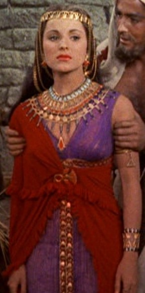 Cropped screenshot of Debra Paget and John Der...