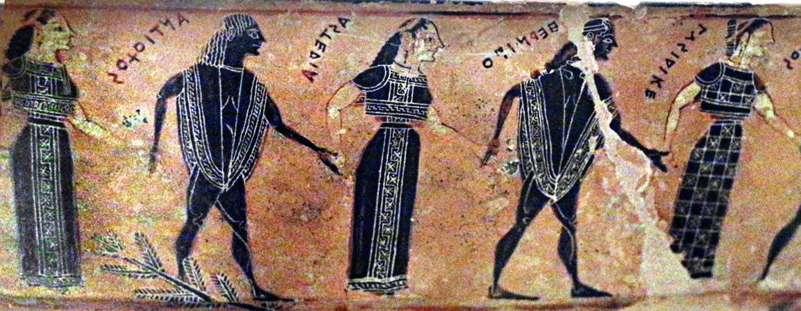 Filedetail Of Dancers On Attic Black Figure Volute Krater Known As
