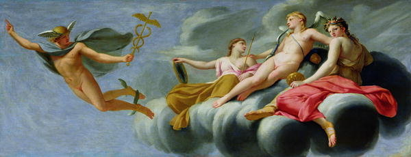 Cupid orders Mercury, messenger of the Gods, to announce the Power of Love to the Universe