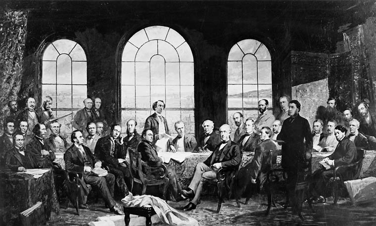 1885 photo of Robert Harris' 1884 painting, Conference at Quebec in 1864, to settle the basics of a union of the British North American Provinces, also known as The Fathers of Confederation.