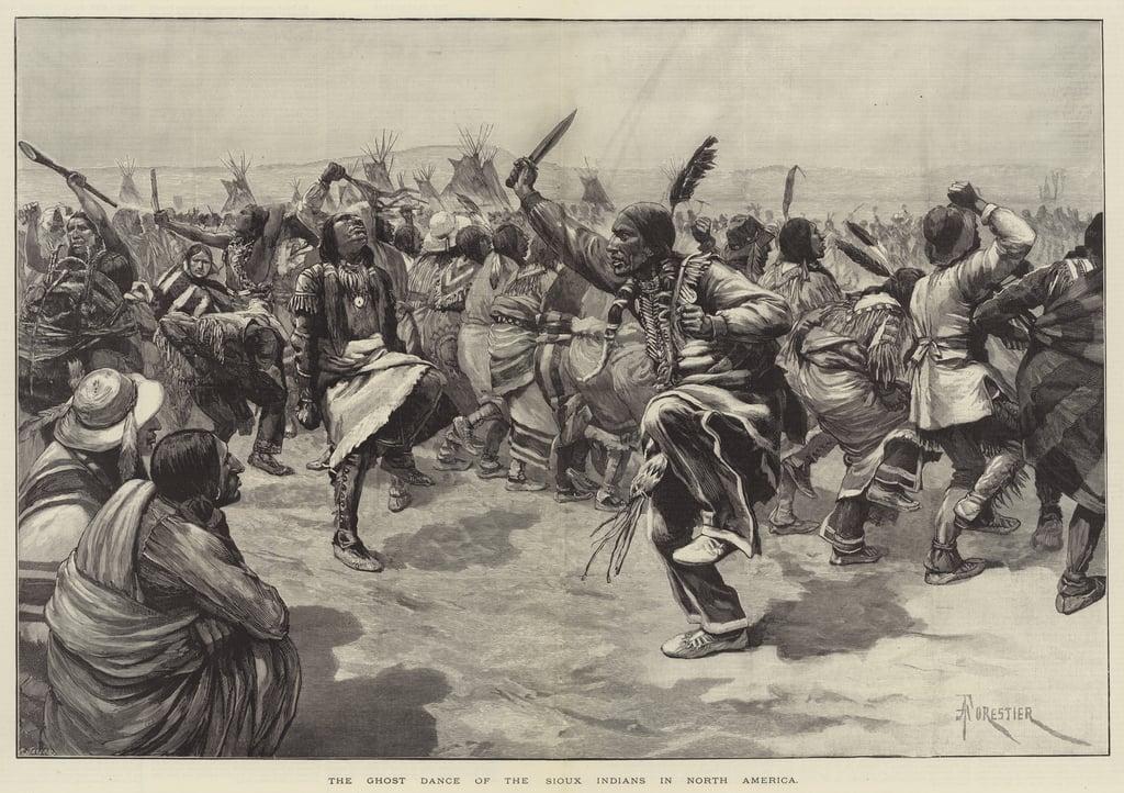 Siuksowie, masakra nad Wounded Knee, Indianie, biali, Stany Zjednoczone, religie, ilustracje, rdzenni Amerykanie