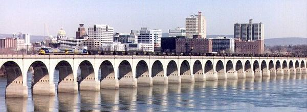 Downtown Harrisburg, Pennsylvania panorama, as seen from the John Harris Bridge (2000)