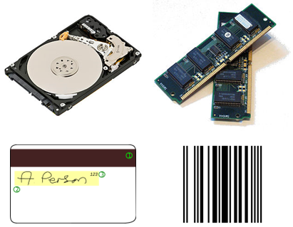 IBM inventions: (clockwise from top-left) the hard-disk drive, DRAM, the UPC bar code, and the magnetic stripe card IBMinventions.png