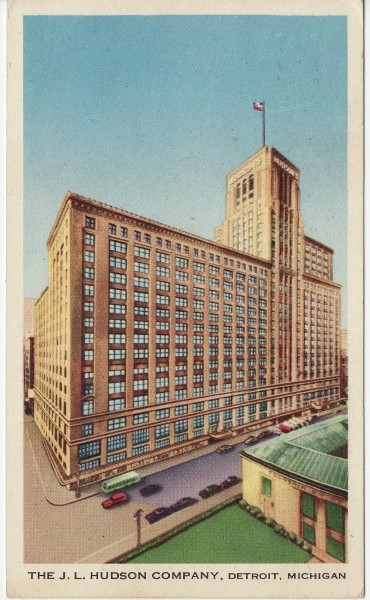 The J.L. Hudson building in Detroit. The Dayton Company merged with J.L. Hudson in 1969 forming the Dayton-Hudson Corporation. JLHudsonsPostcard.jpg