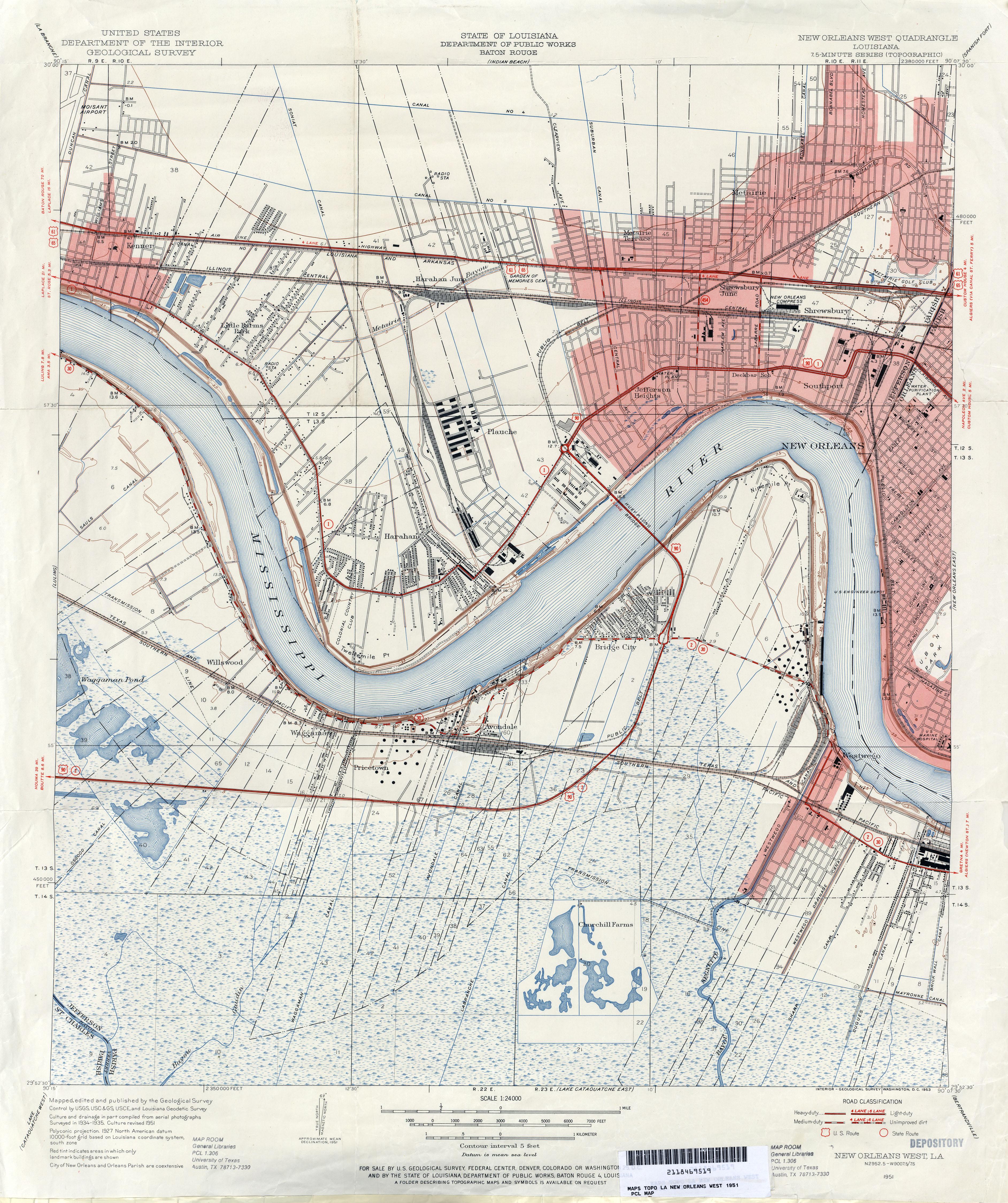 FileJefferson Parish Louisiana Riverfront New Orleans Map 1951jpg