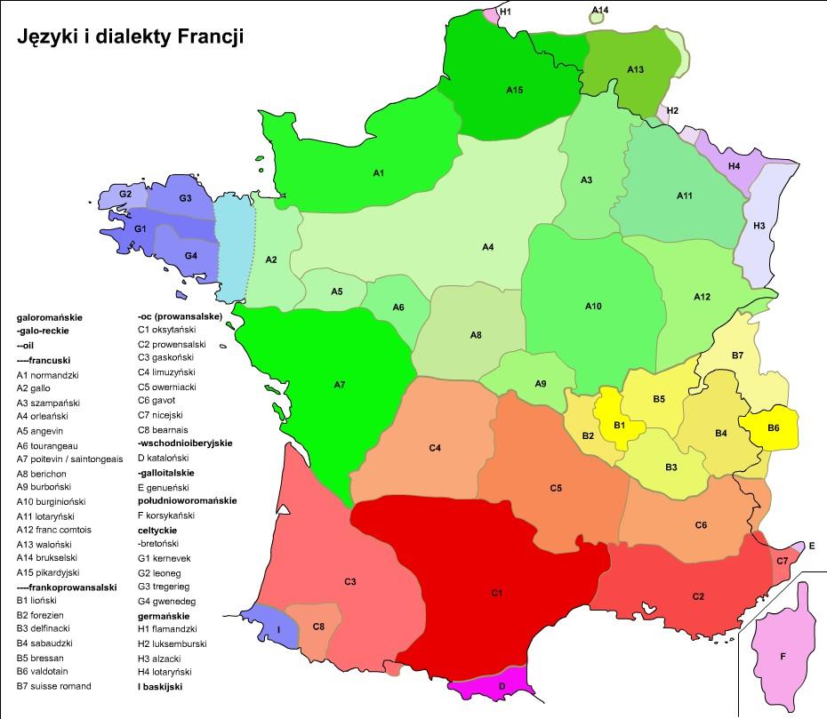 Mapa dialektów języka francuskiego