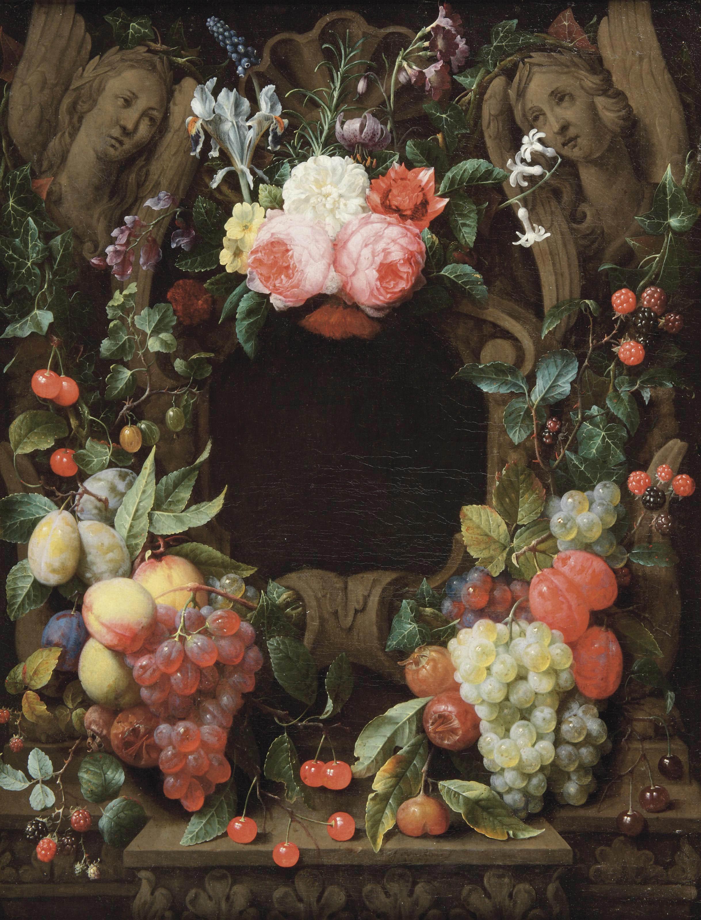 File:Joris van Son - Pink roses, blackberries, figs, plums, grapes ...