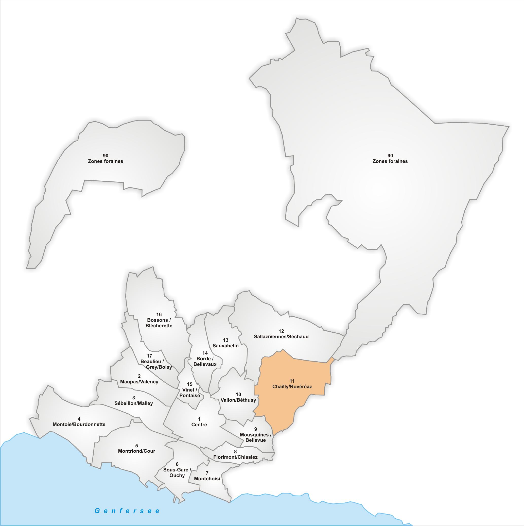 Lage des Stadtteils Chailly/Rovéréaz