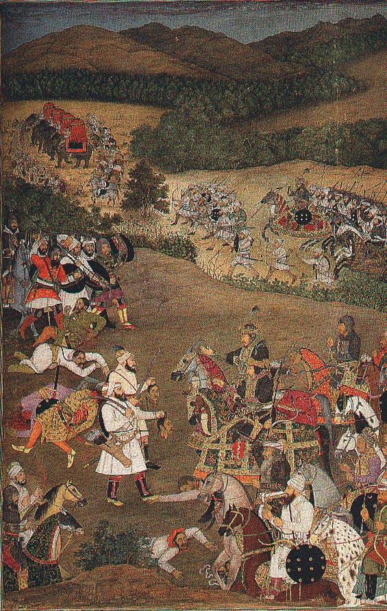 khan dawran receiving the heads of jujhar singh and his son bikramajit (january 1636).jpg