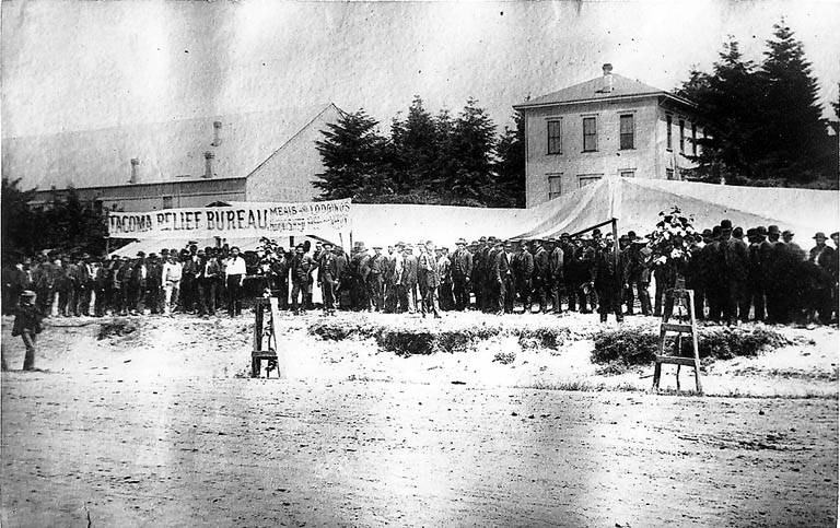 File line of men outside the tent of the tacoma relief bureau