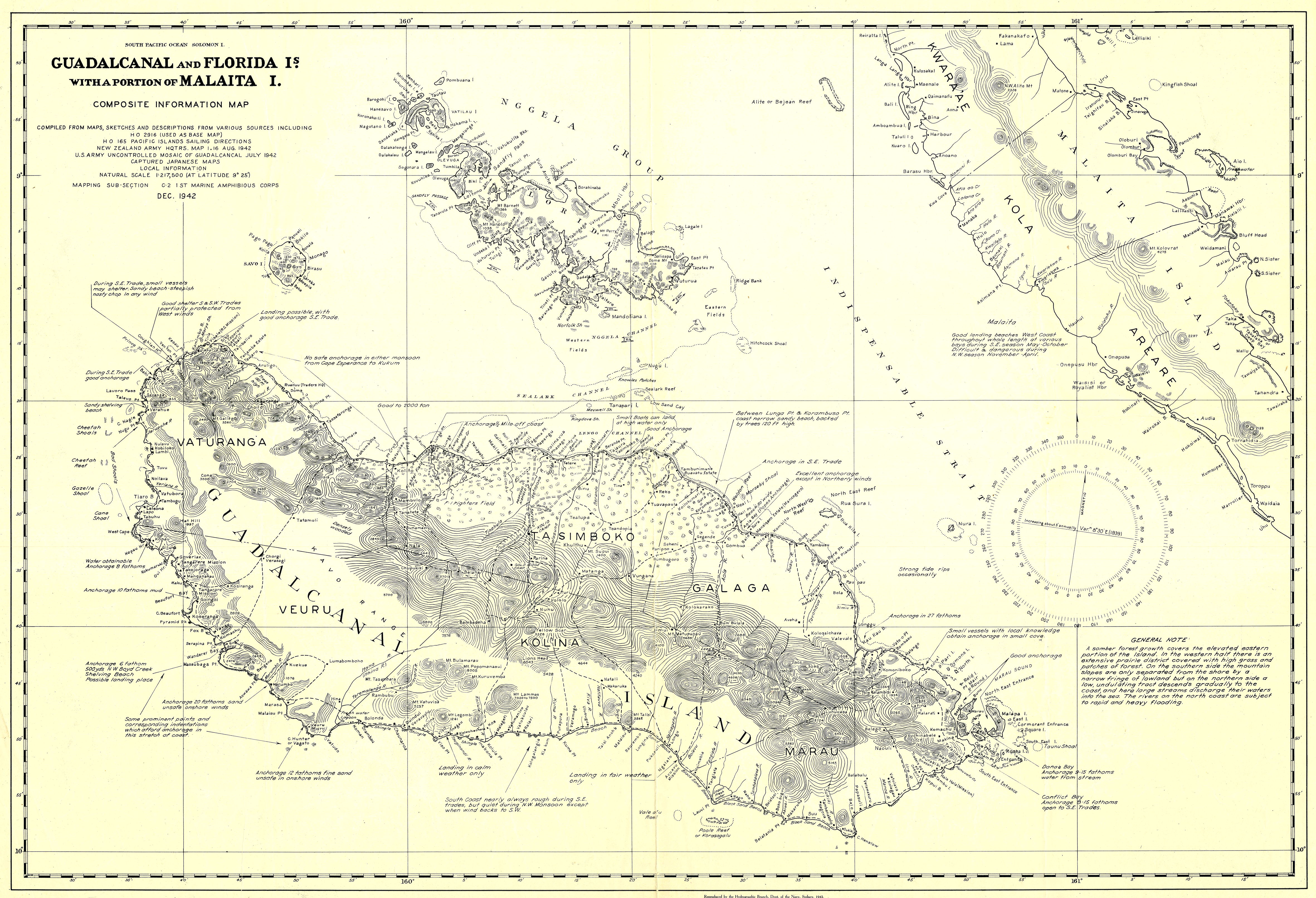 Florida Islands Map.File Map Of Guadalcanal And Florida Islands December 1942 Us