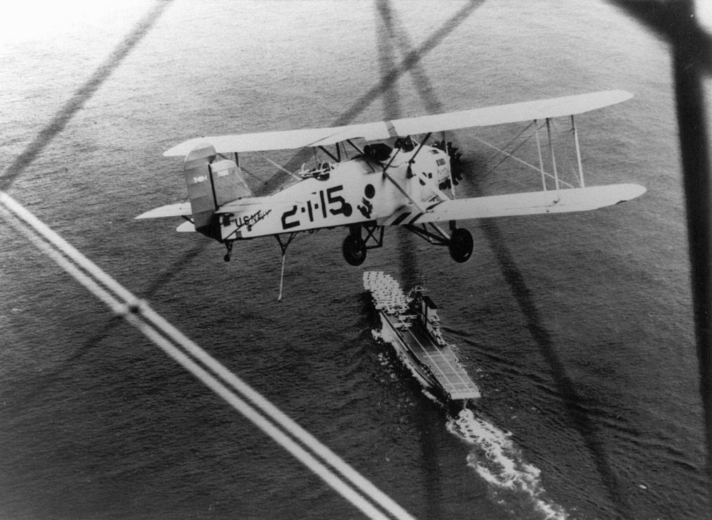 FileMartin T4M 1 of VT 2B flying over USS