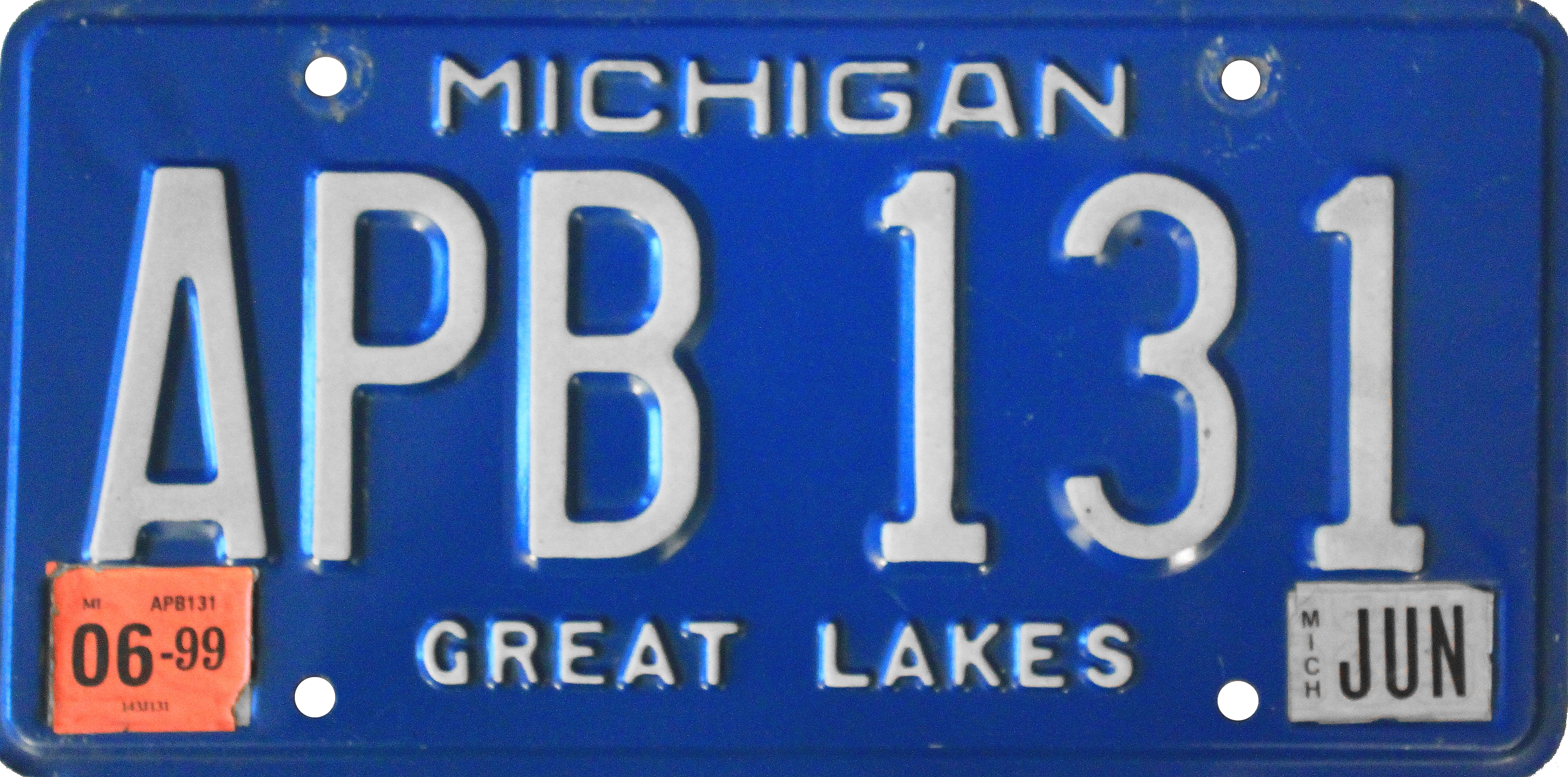 File Michigan License Plate 1990 2001 With June 1999 Sticker Png
