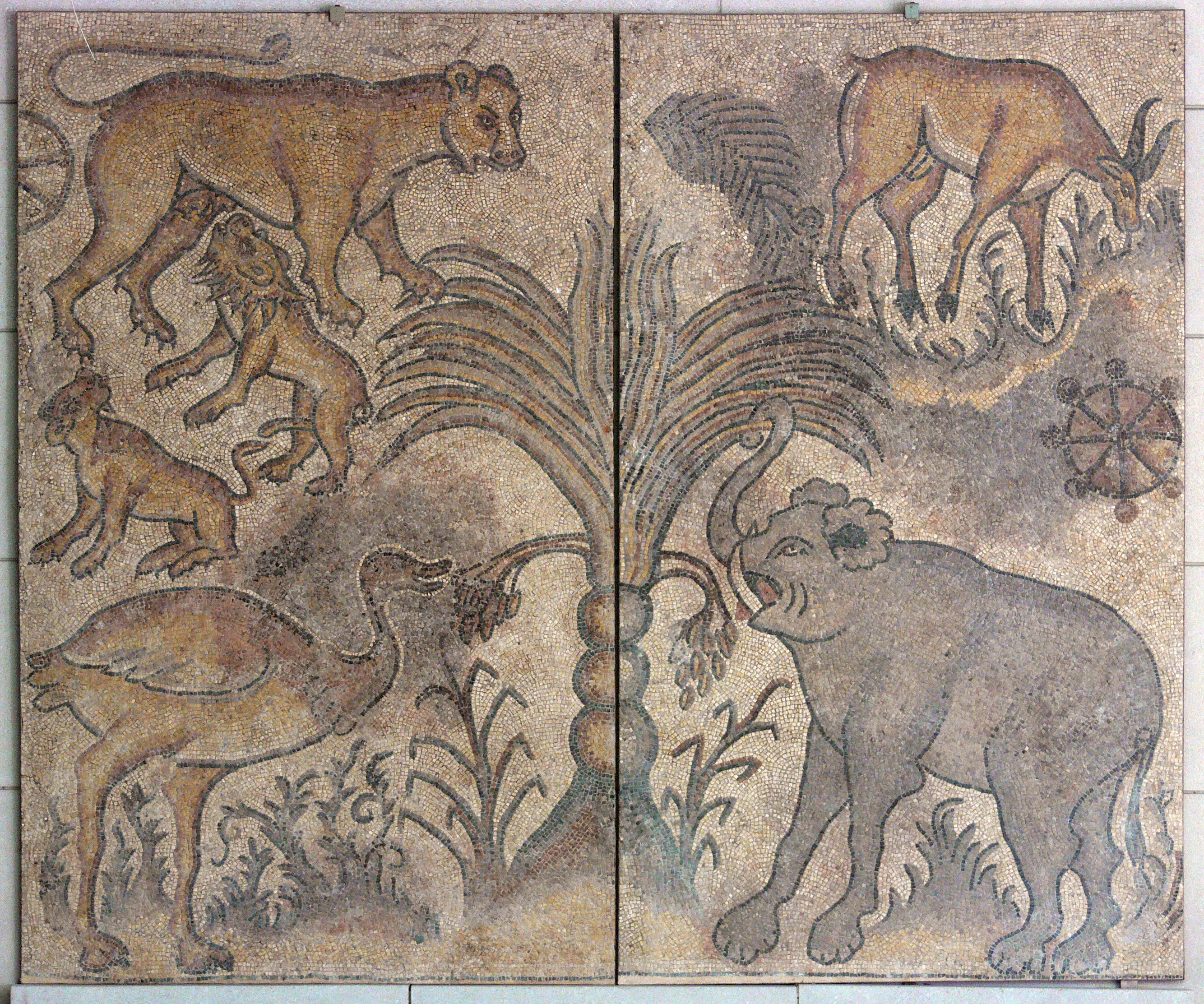 Image of: Ancient Filemosaic Scene With Wild Animals Dmajpg Wikimedia Commons Filemosaic Scene With Wild Animals Dmajpg Wikimedia Commons