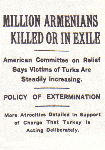 Headline of The New York Times, 15 December 1915 NY Times Armenian genocide.jpg
