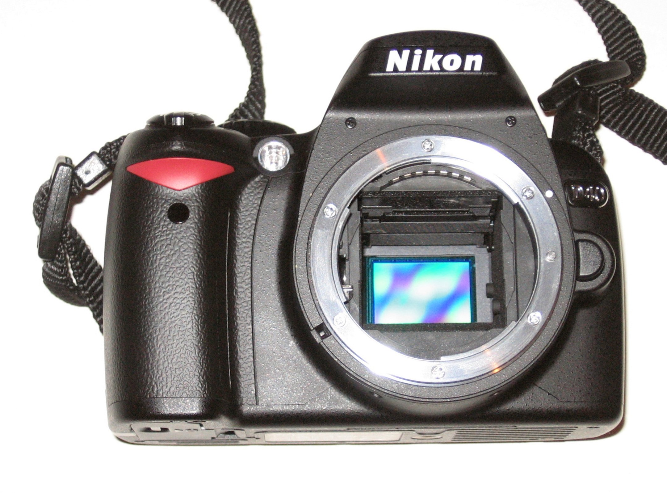 Nikon D40 digital SLR camera with visible CCD image sensor