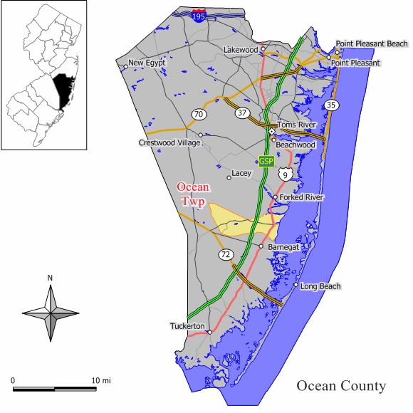 Ocean Township, Ocean County, New Jersey - Wikipedia on hunterdon county, asbury park nj map, vista center nj map, burlington county, passaic county, spray beach nj map, monterey beach nj map, seaside heights map, lower township nj map, jackson nj map, morris county, musconetcong river nj map, toms river nj map, delran township nj map, greenwich township nj map, six flags great adventure nj map, mercer county, cape may nj map, toms river, swainton nj map, seaside park nj map, new brunswick, hudson county, middlesex county, west windsor township nj map, atlantic county, brick nj on map, bergen county, somerset county, cape may county, camden county, ny nj pa counties map, union county, palisades interstate parkway nj map, warren county, cumberland county, essex county, monmouth county,