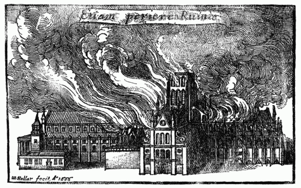 Old St Paul's Cathedral in flames