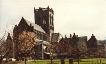 Paisley Abbey was the burial place of many Scottish kings of the House of Stewart during the 13th, 14th and 15th centuries PaisleyAbbey.jpg