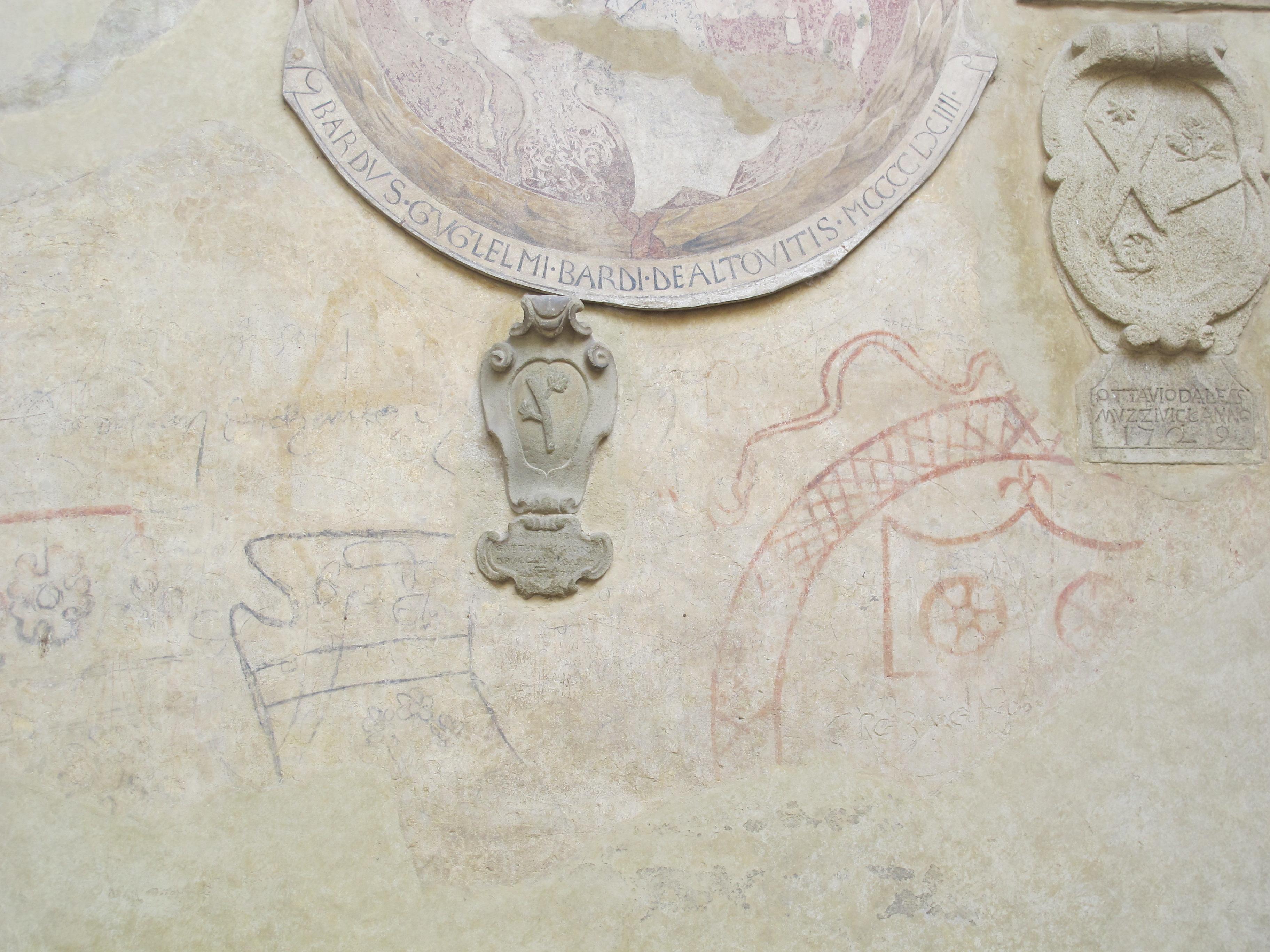 Palazzo Pretorio di certaldo, cortile, graffiti