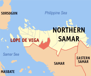 Map of Northern Samar showing the location of Lope De Vega