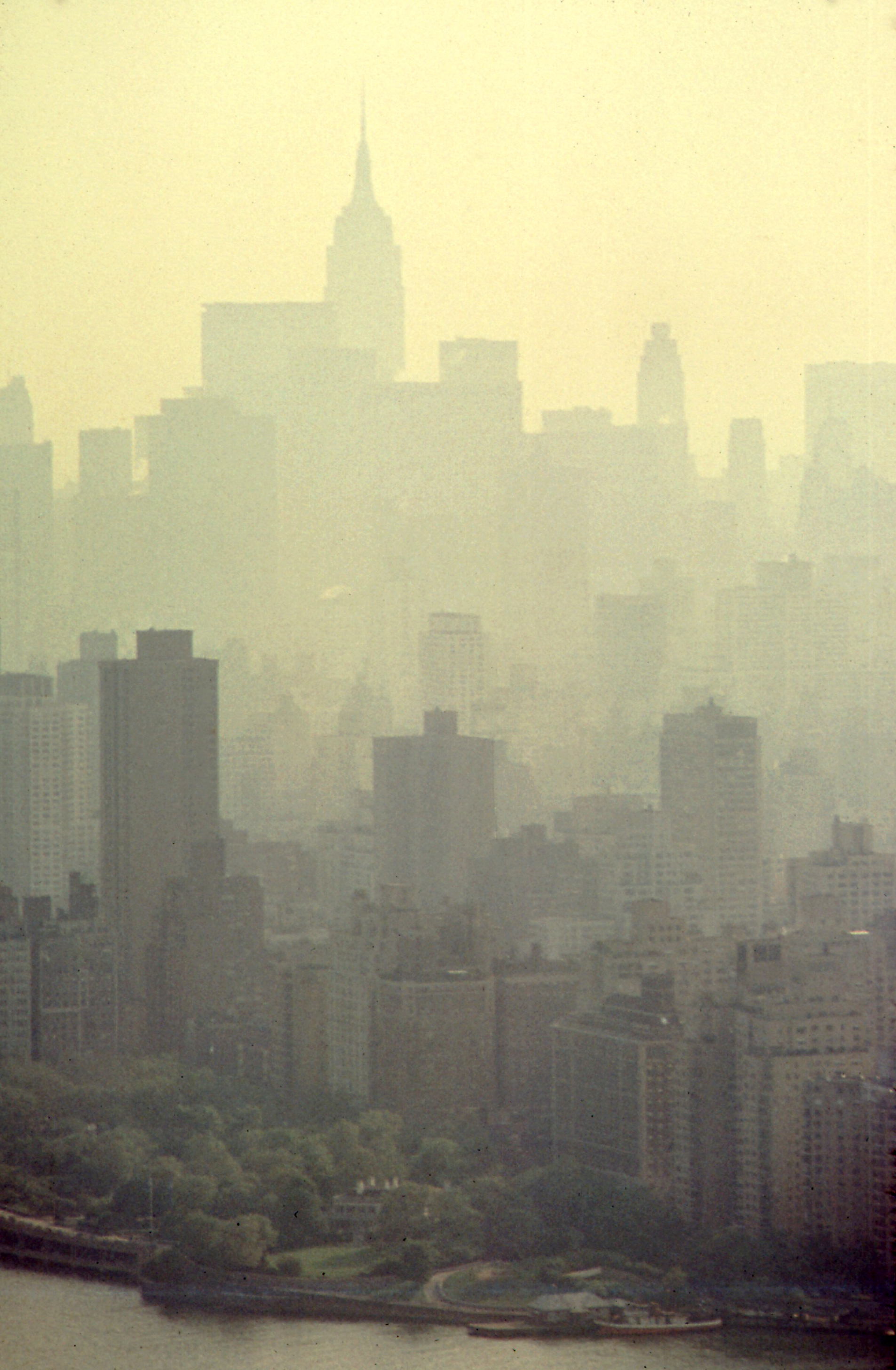 Aerial view of New York City with air pollution.