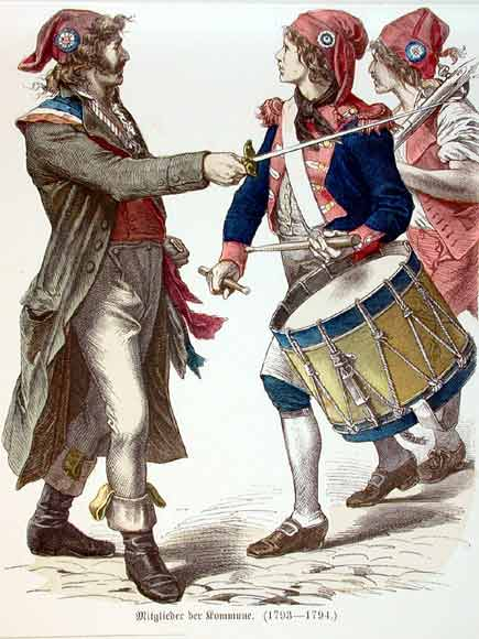 French revolutionaries wearing Phrygian caps and tricolor cockades Sansculottes.jpg