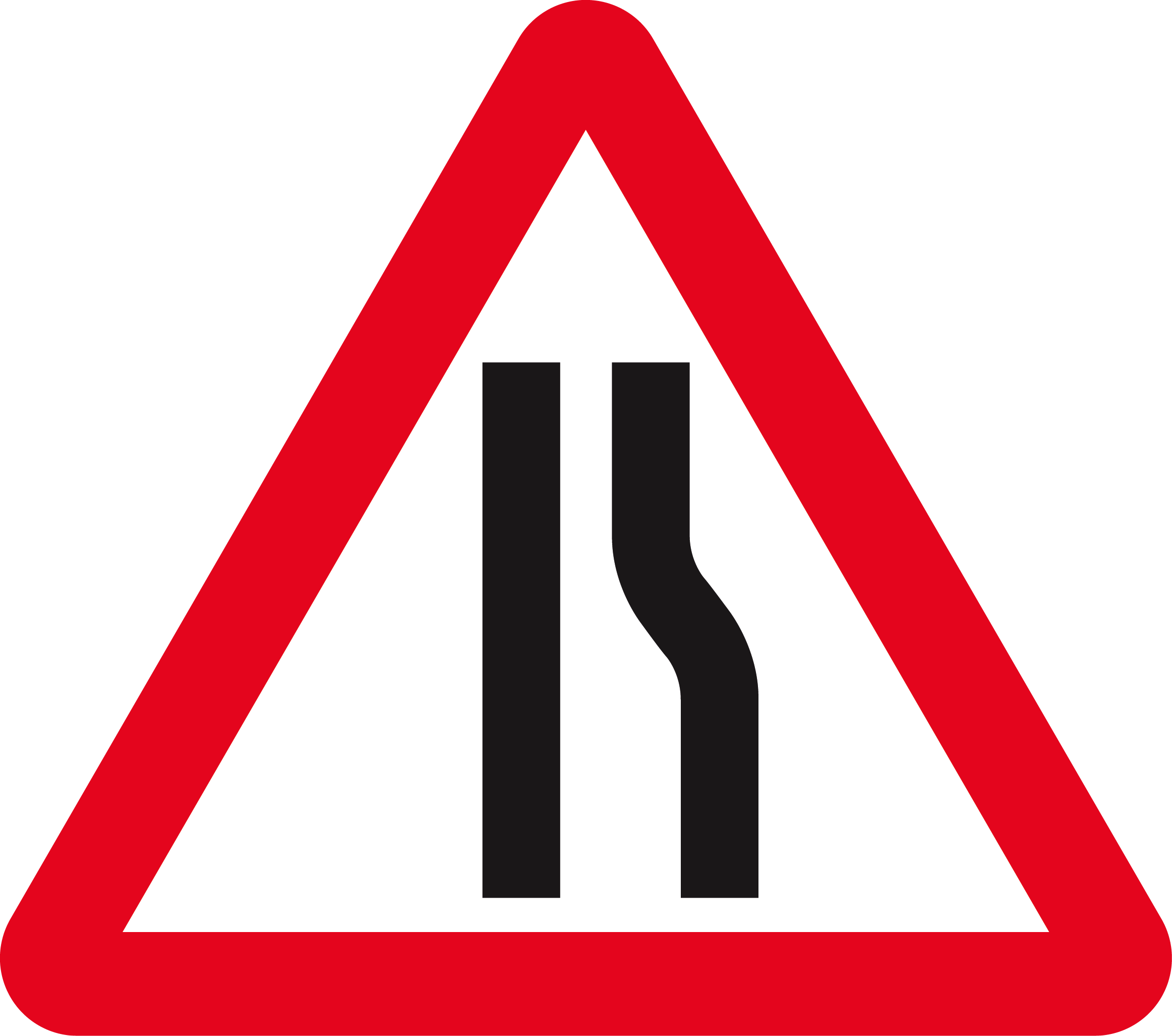 File:Singapore Road Signs - Warning Sign - Road Narrows On ... Green Road Sign Png