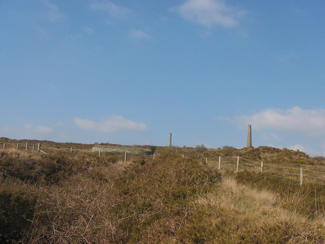 South Kit Hill Mine with the stack of Kit Hill Mine in the background - geograph.org.uk - 1058172
