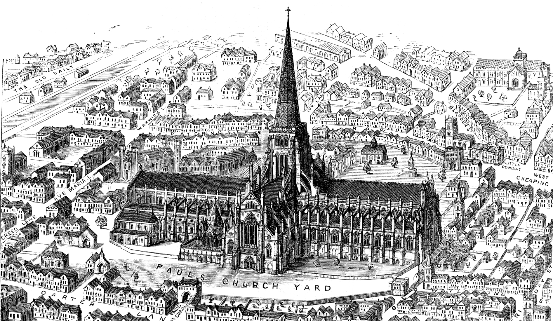 old st paul s cathedral an engraving of old st paul s cathedral seen from above the building is in a