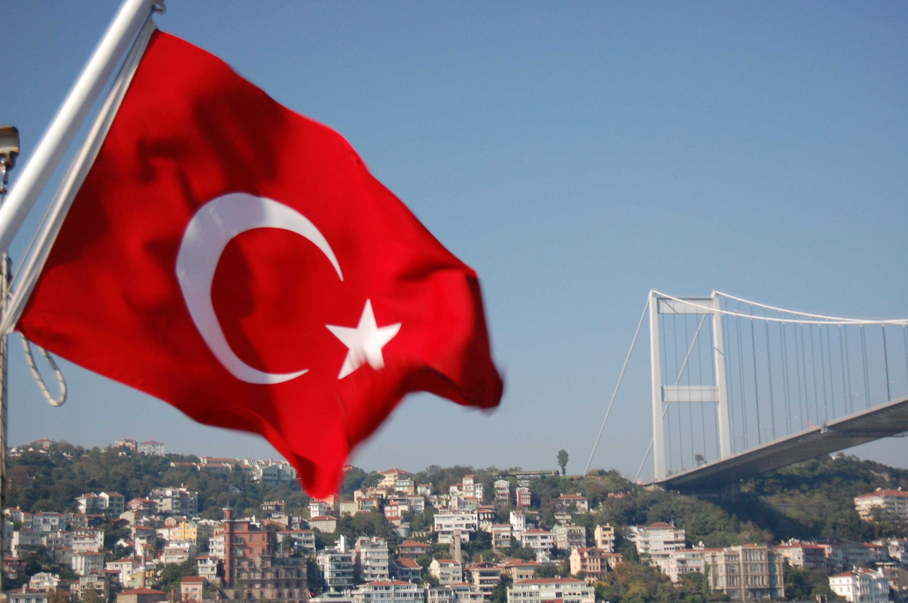 Turkish flag by the Bosphorus Bridge Flag