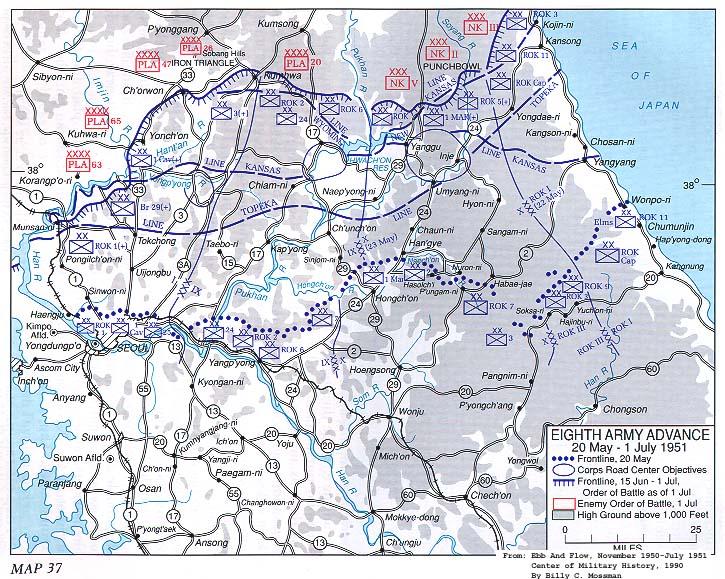 Un Mayjune 1951 Counteroffensive Wikipedia - 38th-parallel-us-map