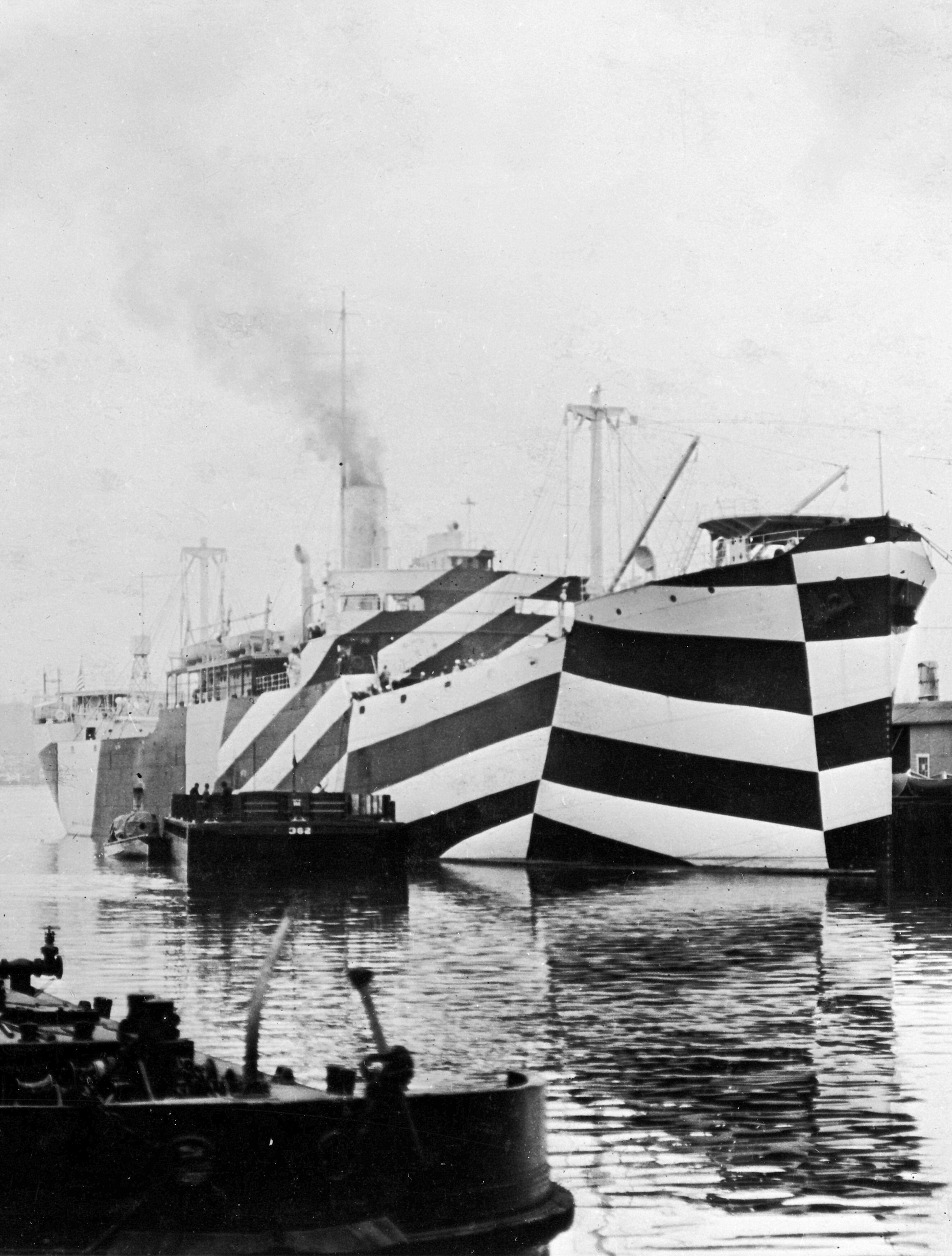 Dazzle painted battleships