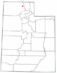 Location of Elwood, Utah
