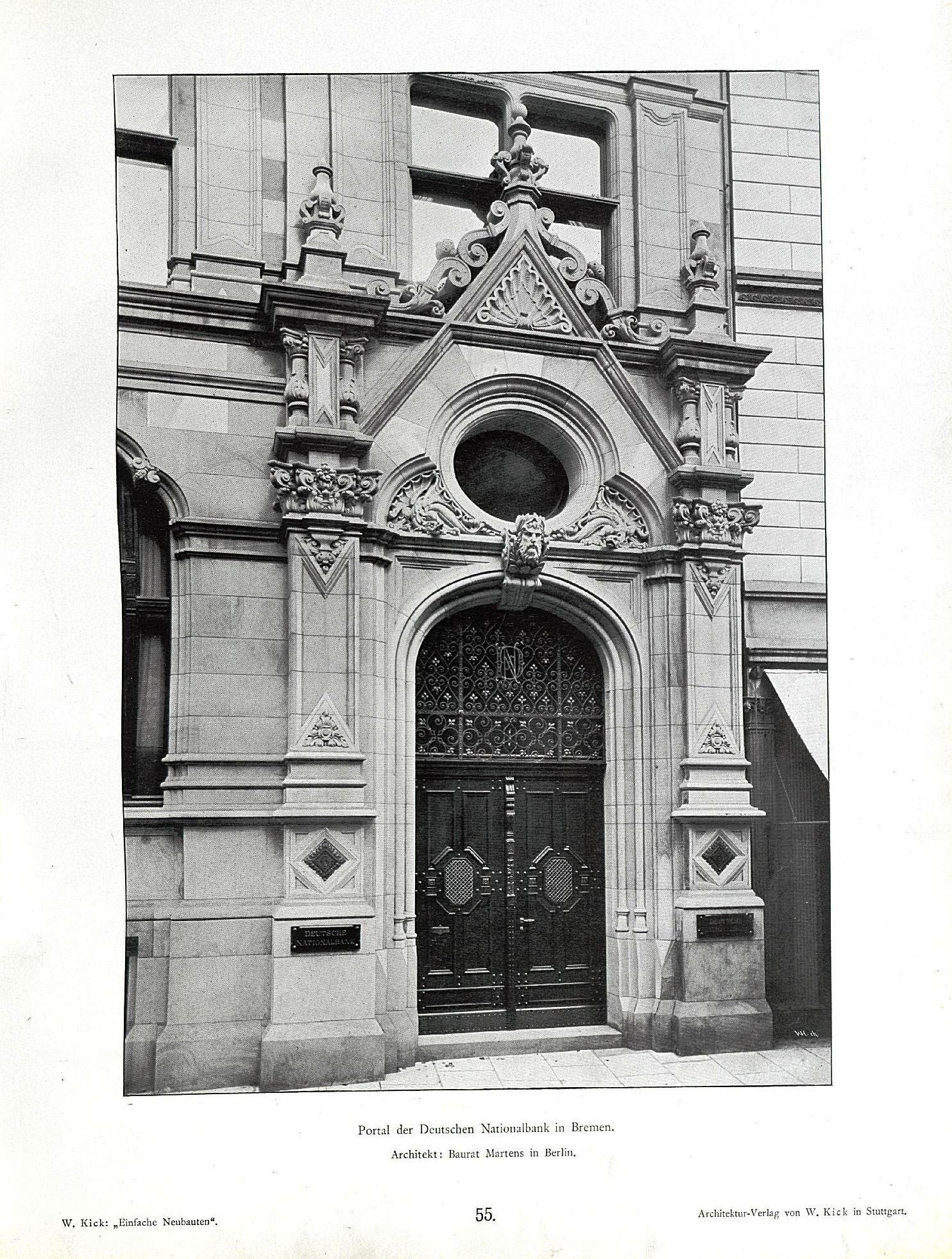 Bremen Architekt file wilhelm kick einfache neubauten stuttgart 1890 portal der