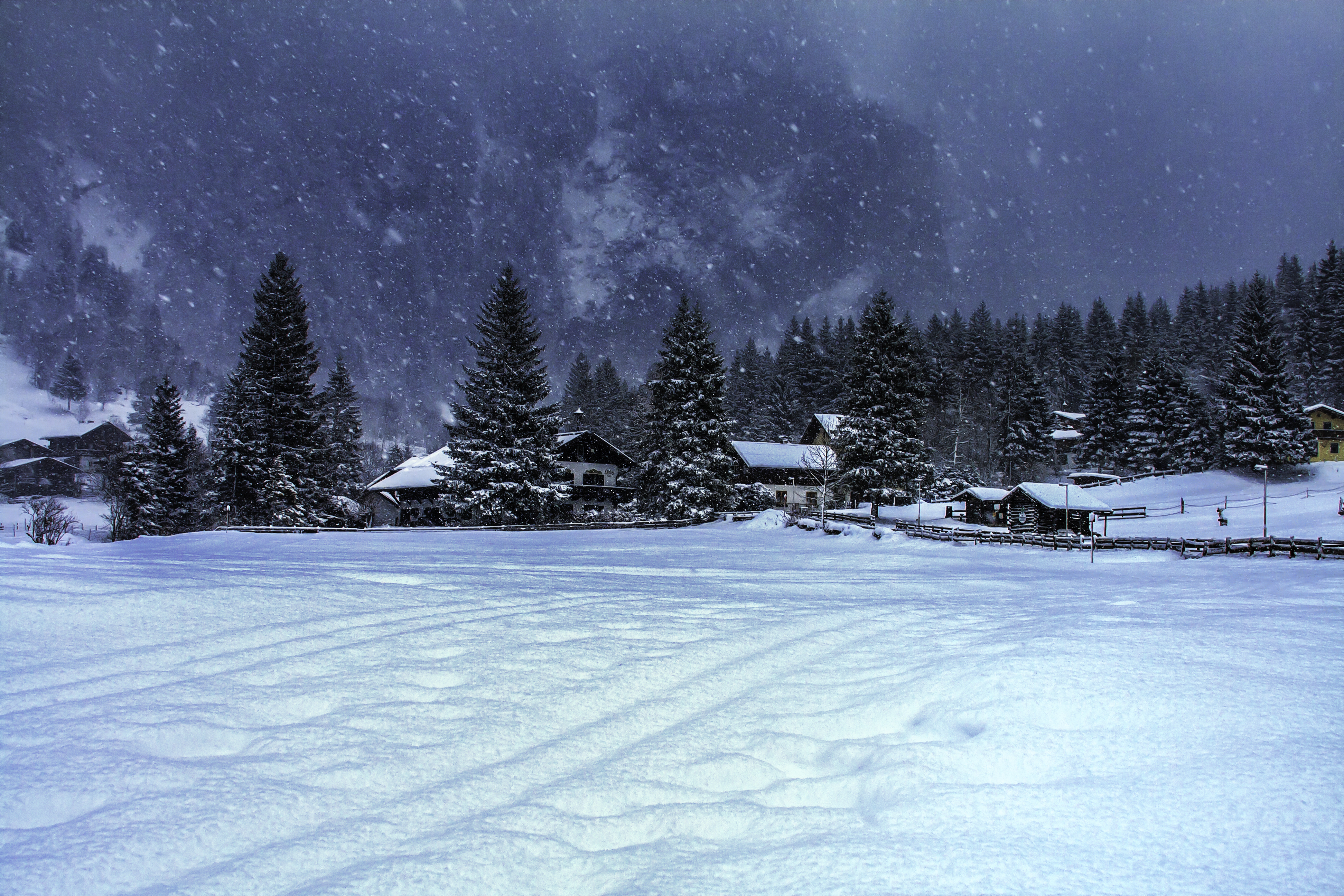 Mountain landscape with snow.