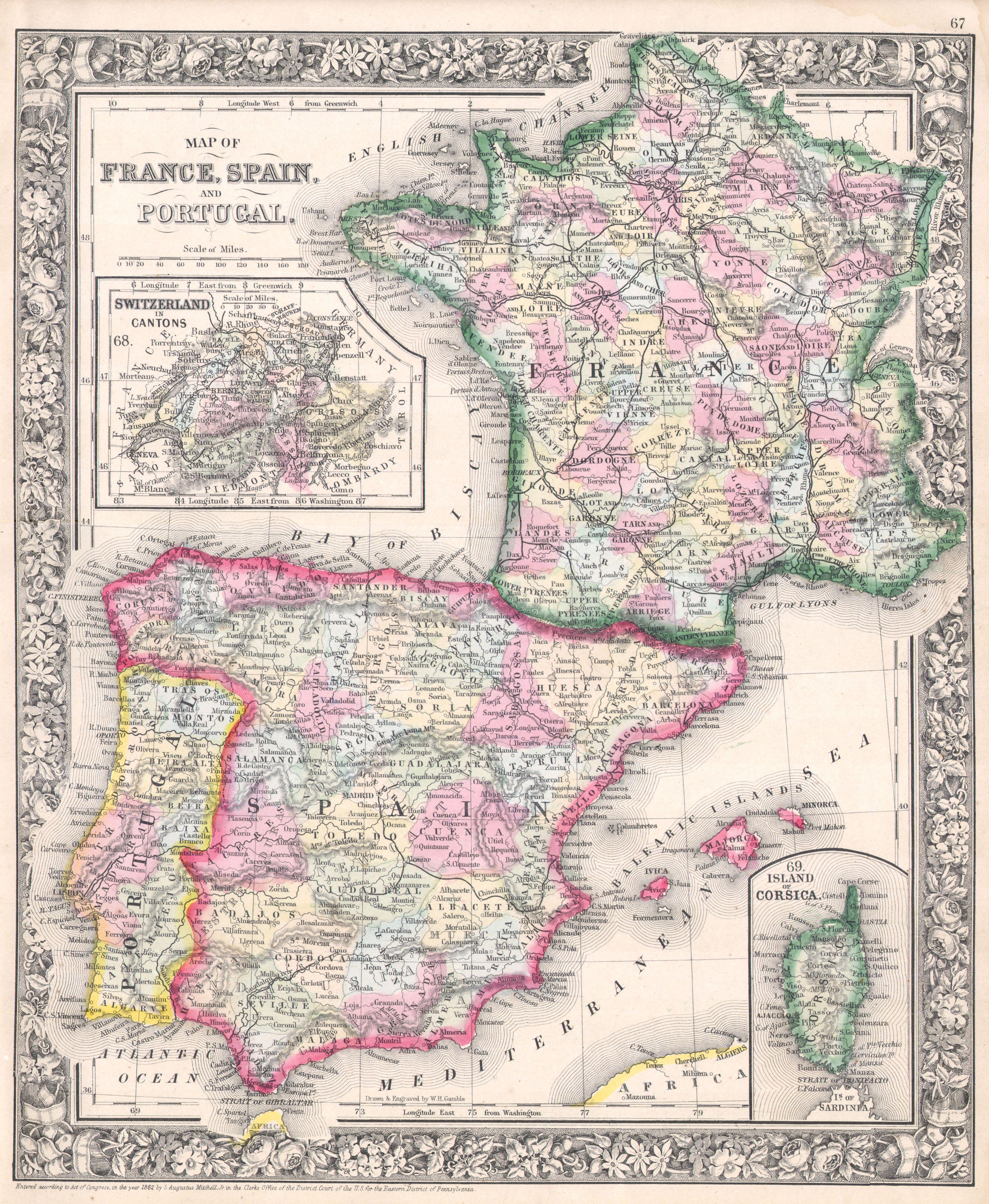 Map Of Spain And Portugal And France.File 1864 Mitchell Map Of France Spain And Portugal Geographicus