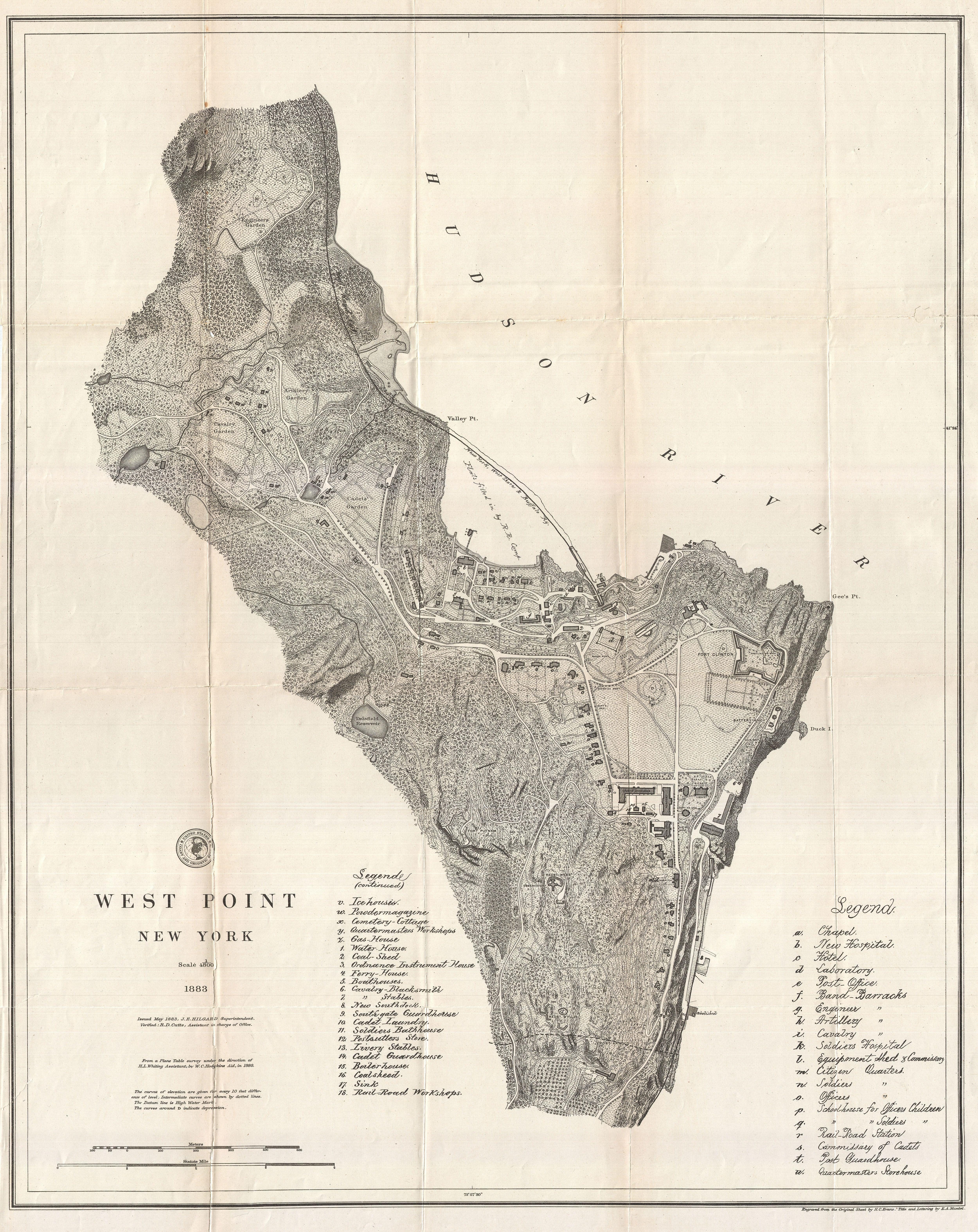 File 1883 U S Coast Survey Map Of West Point Military Academy New