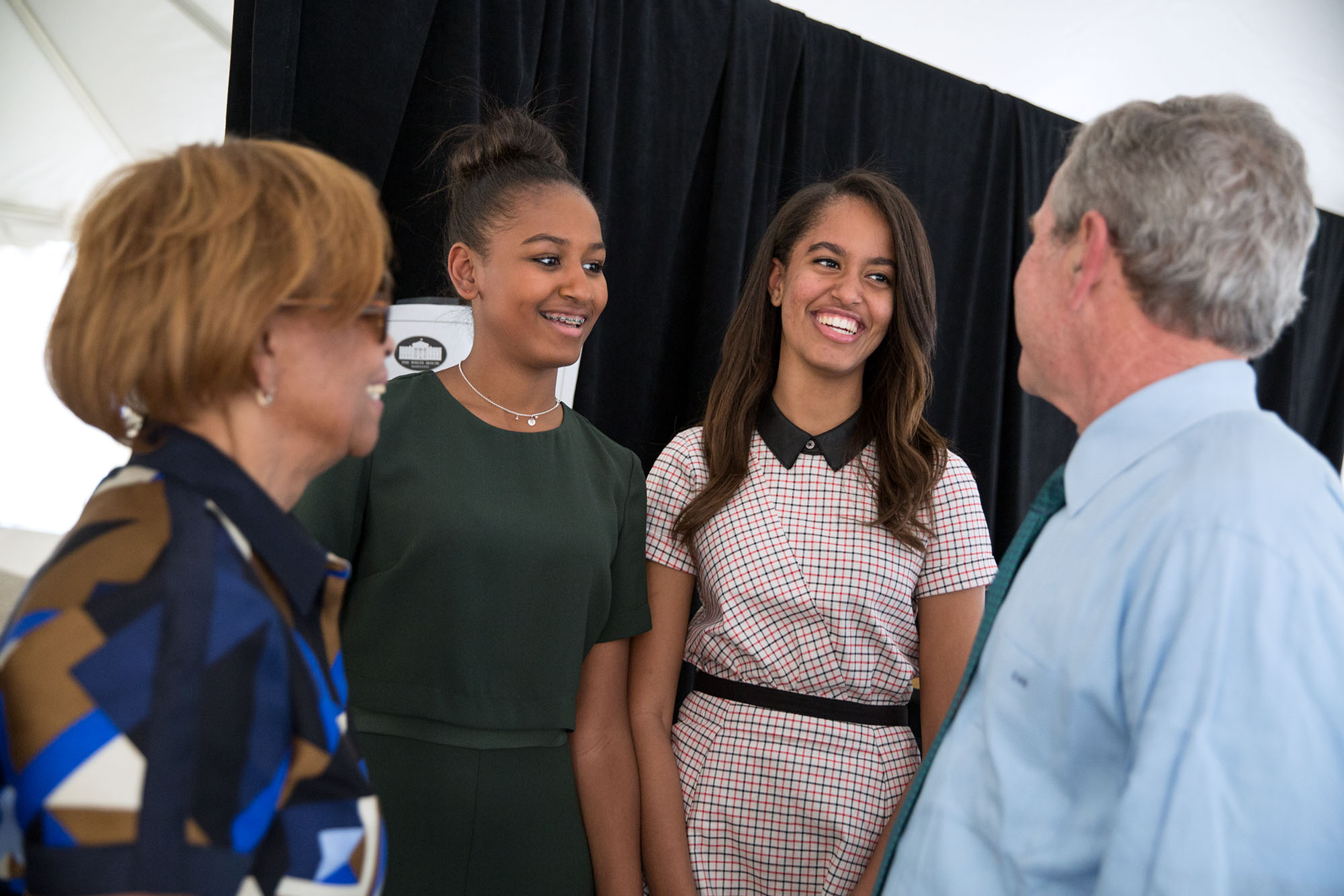 File:50th Anniversary of the Selma Marches - Backstage, former President Bush talks with