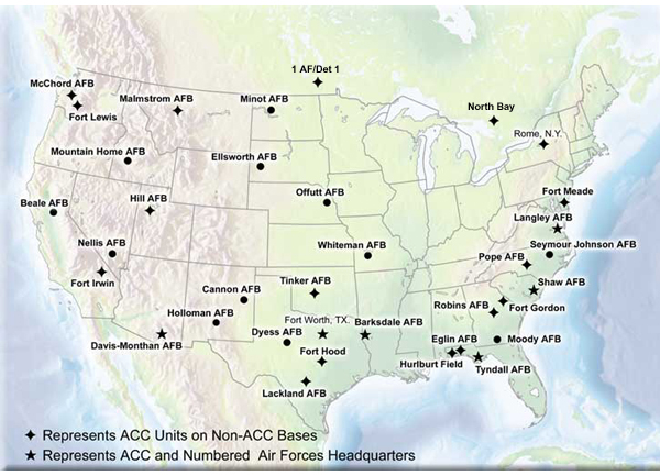 Air Combat Command Wikipedia - Map of us air force installations